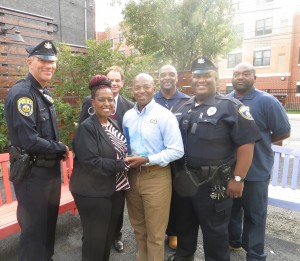 CHA Board Chair Sheila Church shares the award for Most Improved Housing Authority with CHA Housing Program Manager Douglas E. Daniel. Also pictured are maintenance and security team members (L to R) John Zebley, Nate Pope, Elijah Thompson and Wilbert Jarrett. CHA executive director Steven A. Fischer is in back.